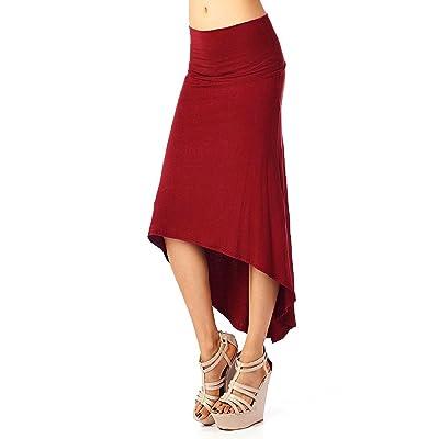Aivtalk – Jupe Femme Mode Extensible Maxi au genou en Coton Robe taille haute assymetrique – Taille et Couleur au choix