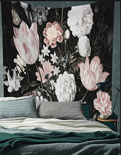 Amazon Com Black Blossoms Beautiful Flowers Wall Hanging Floral