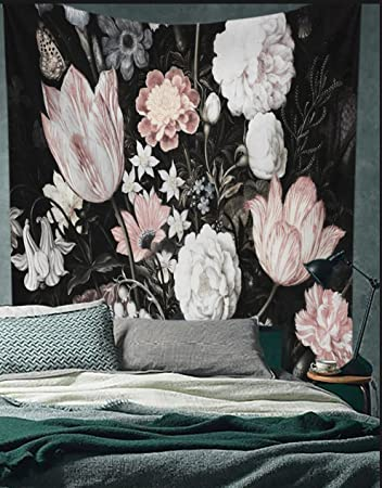 Black Blossoms Beautiful Flowers Wall Hanging Floral Tapestry Fabric Wallpaper Home Decor 60 X 81 Twin Size
