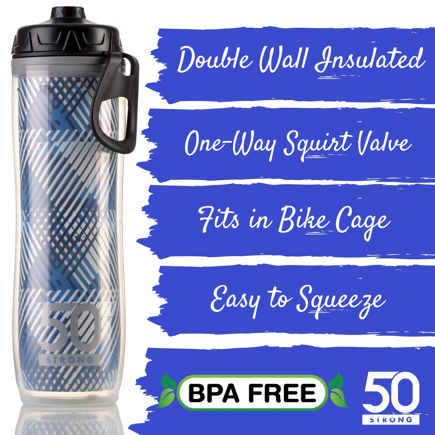 Lightweight Leak Proof Cap 24 oz Made in USA BPA Free Sports Bottle With One-Way Valve Perfect for Hiking Double Walled Plastic Design Keeps Drinks Cold Insulated Bike Water Bottle