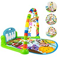 Baby Play Mat Activity Gym with Music and Lights, Baby Gym Activity Center with Colorful Baby Toys, Kick and Play Piano Musical Toys for 0 to 3 6 9 12 Months, Baby Shower, Christmas Gift