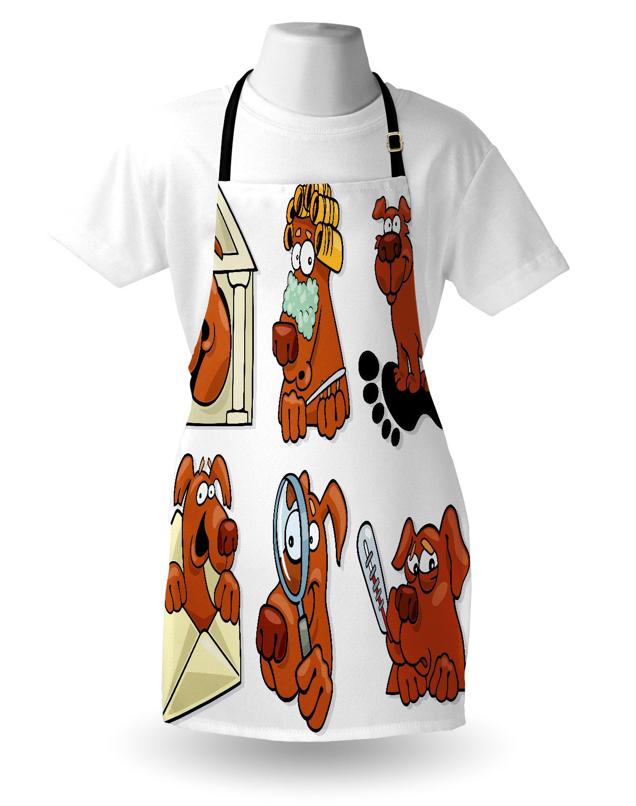 Lunarable Dog Lover Apron, Dog Beauty Spa Toothy Smiling Sick Cheerful Looking Magnifying Action, Unisex Kitchen Bib Apron with Adjustable Neck for Cooking Baking Gardening, Cinnamon Coconut White by Lunarable (Image #3)
