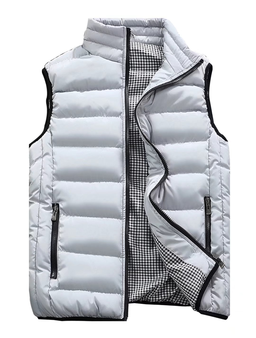 Vcansion Men's Stand Collar Lightweight Vest Casual Down Jacket Coat Vest White and Grey S