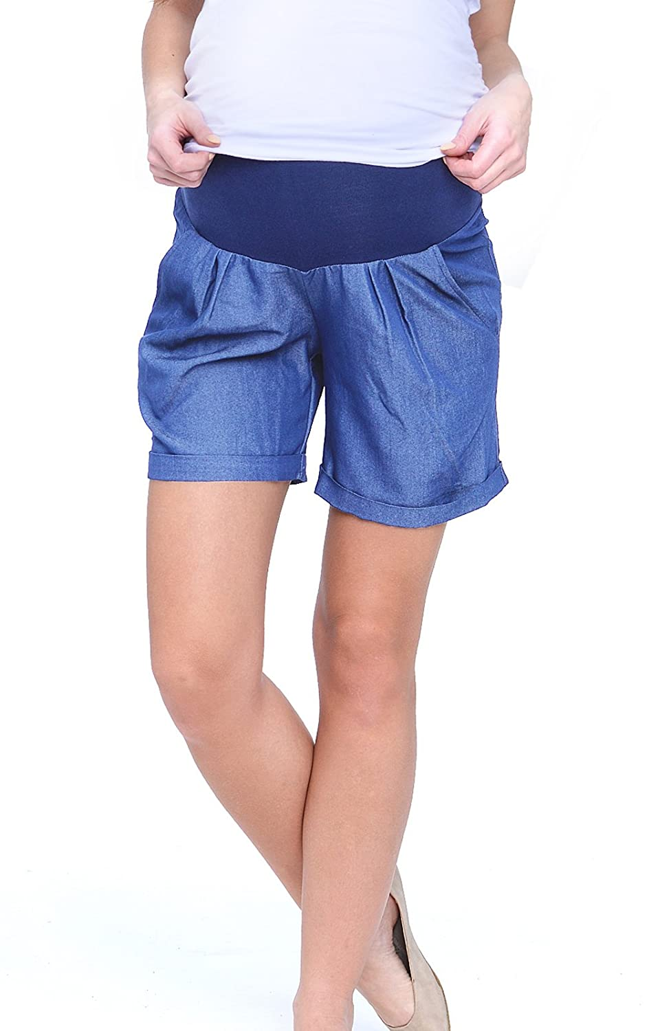 Mija - Maternity Shorts Pants Trousers With Over Bump Panel 4074