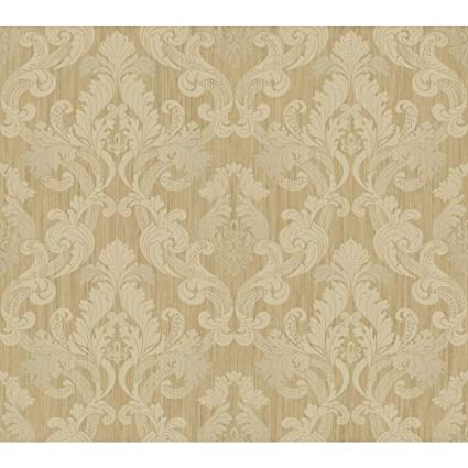 York Wallcoverings EM3869 Shimmering Topaz Framed Ombre Damask Wallpaper Cream Beige Metallic Gold