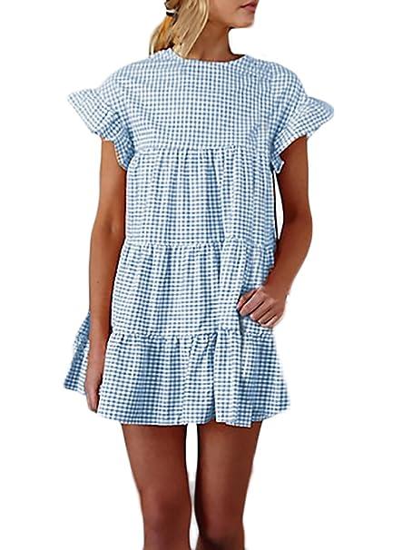 Damen Kurz Sommerkleider Fashion Casual Elegant T Kariert Shirt wkiTXOulZP