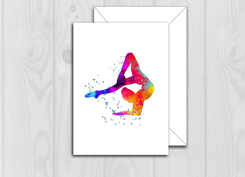 Gymnast Gymnastic Cute Girl Happy Birthday Card Blank Size 30x30mm