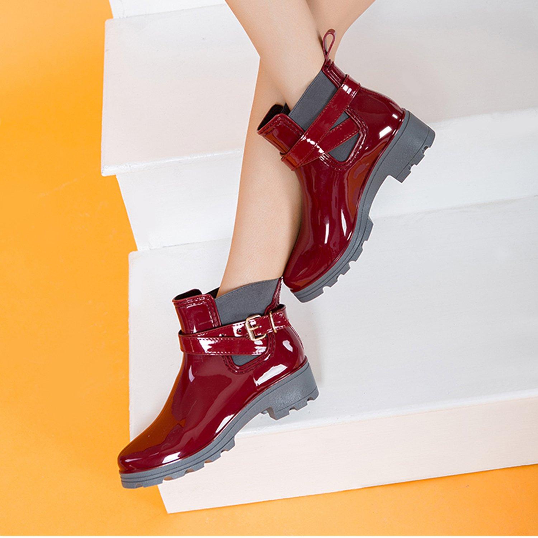 ukStore Bottes de Pluie Bottines Cheville Rainboots Bottine de Chelsea Bloc Boots Imperm/éables Chaussures pour Femme