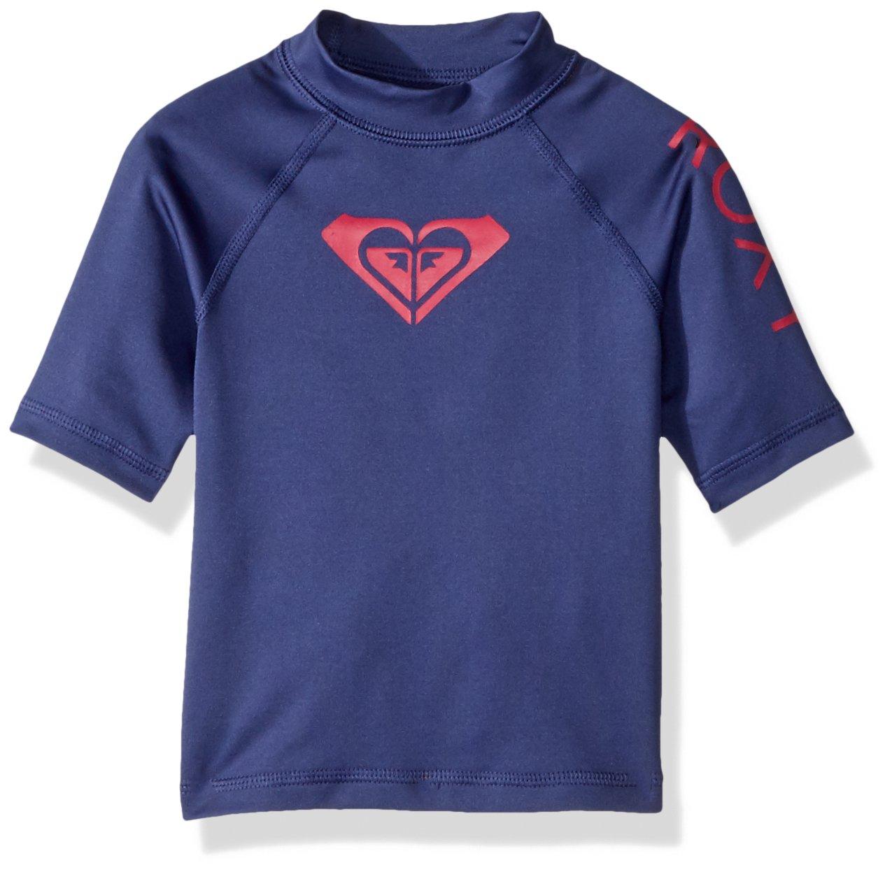 Roxy Toddler Girls' Whole Hearted Short Sleeve Rashguard, deep Cobalt, 2