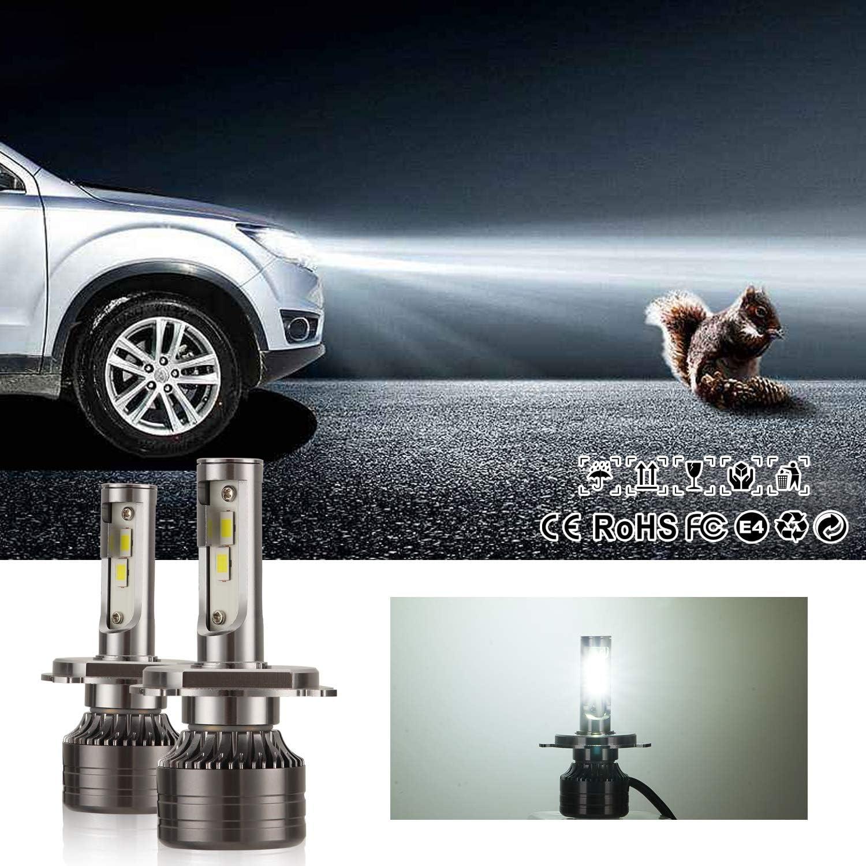Kairiyard H4 LED Headlight Bulbs 55W 9000LM 6000K Auto Car Lamp Lights Conversion Bulb HB2 Bi-Xenon Fog Light HI LO Beam DC 9-18V Aluminum Alloy Super Performance Heat Dissipation Driving Light