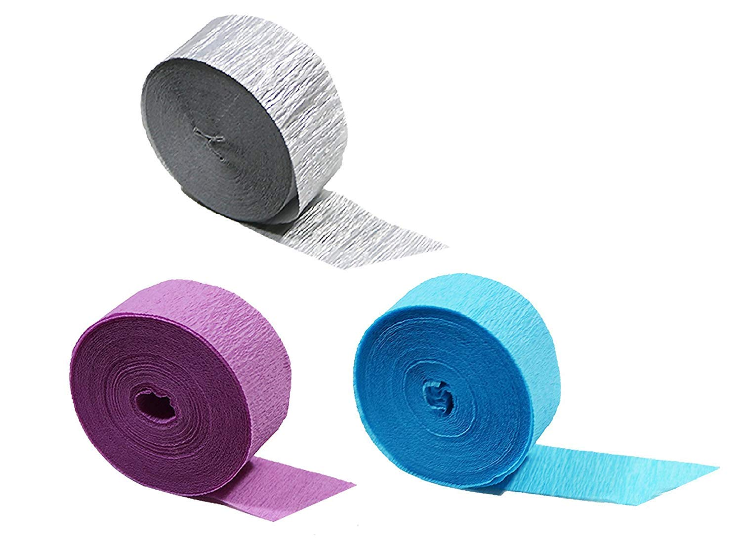 Silver Metallic Crepe Paper Streamers 4 Rolls Made in USA 290 Feet Total
