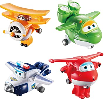 Alpha Animation & Toys 4Pk Super Wings Transform-A-Bots (Jett/Mira Aul/Grand Albert) Plane, multicolor, Talla Única (Alpha Animation Toys YW710610) , color/modelo surtido: Amazon.es: Juguetes y juegos