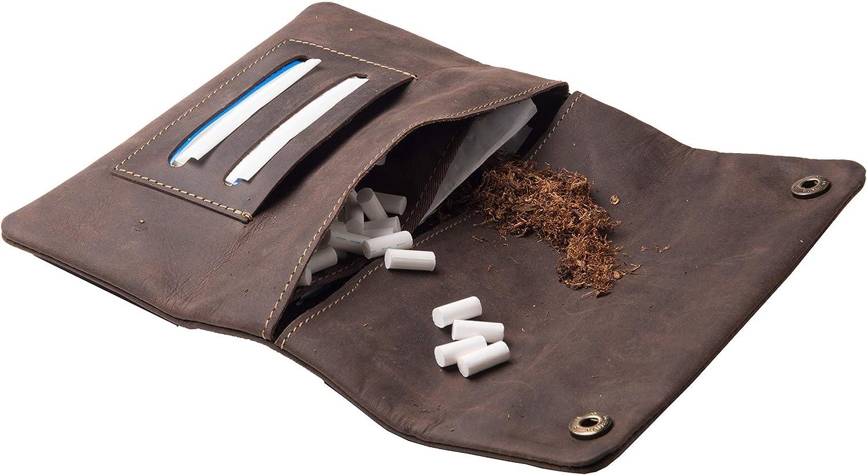 Funda para tabaco con botones de presi/ón y grabado dise/ño de piel alemana ANDERS