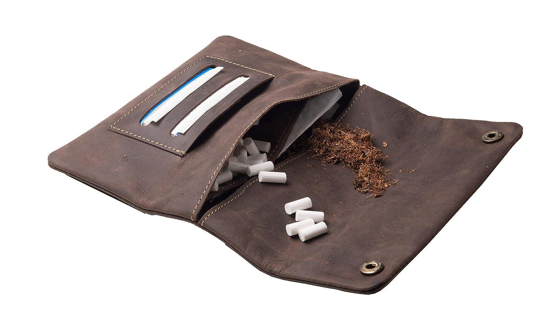 ANDERS Bolsa de Tabaco de Liar de Cuero Unisex Braun-Muster-Harley