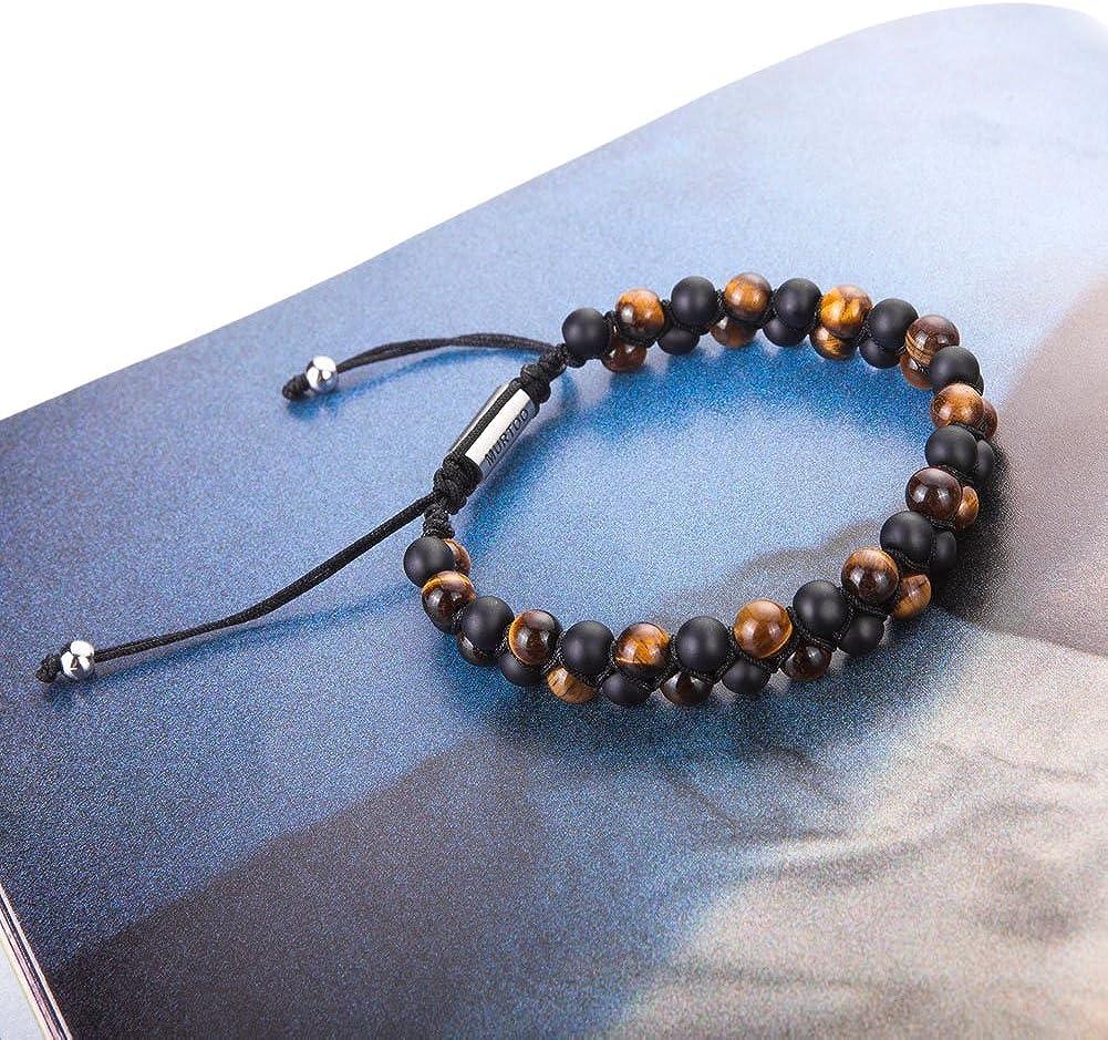 Braceletr/églable de perlesavec Huile Essentielle Yoga comme Diffuser Bracelet pour Hommes murtoo Bracelet en Pierre Naturelle pour Les Hommes