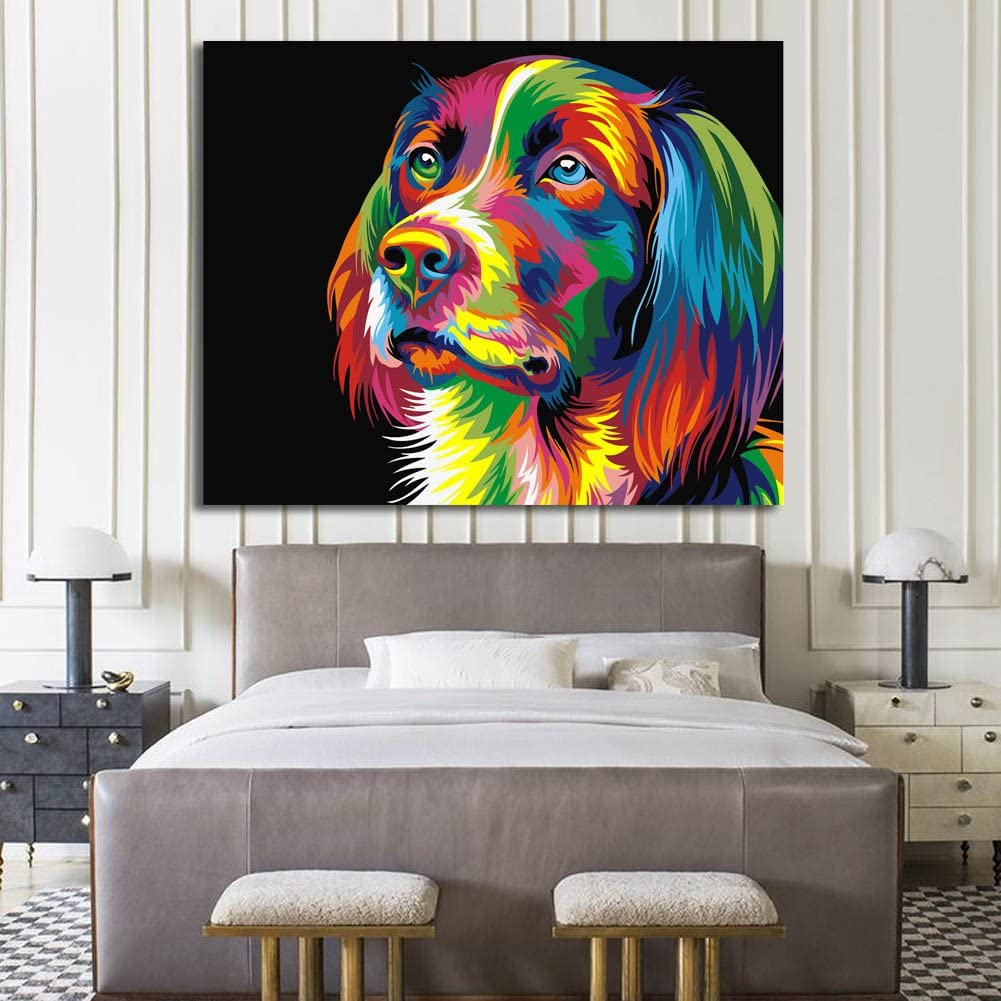 Paint by Numbers DIY Oil Painting Colourful Tiger Canvas Print Wall Art Home Decoration RIHE Wood Frame