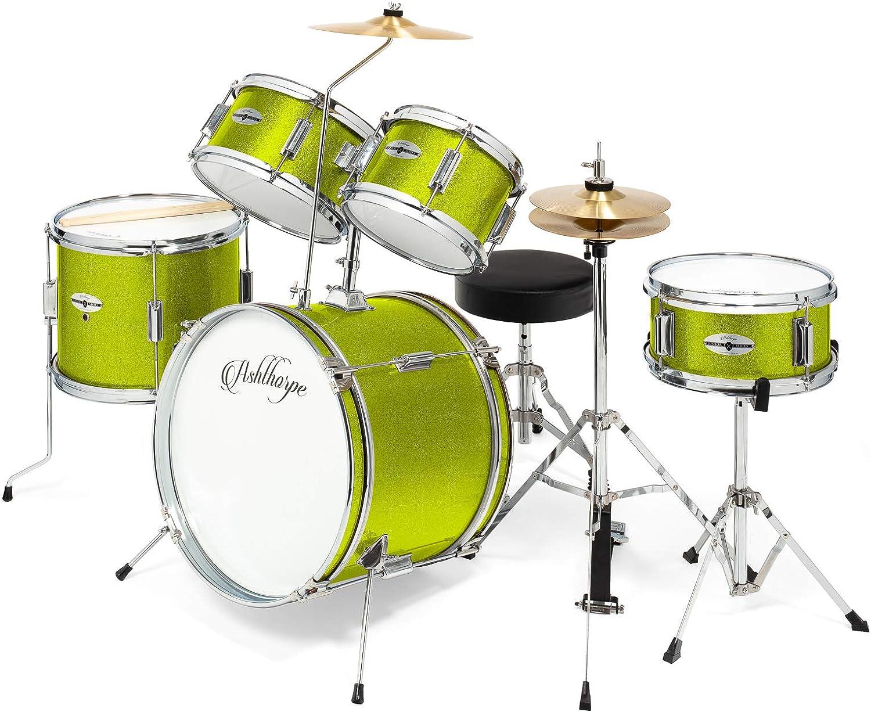 Ashthorpe 5-Piece Complete Kid's Junior Drum Set with Genuine Brass Cymbals