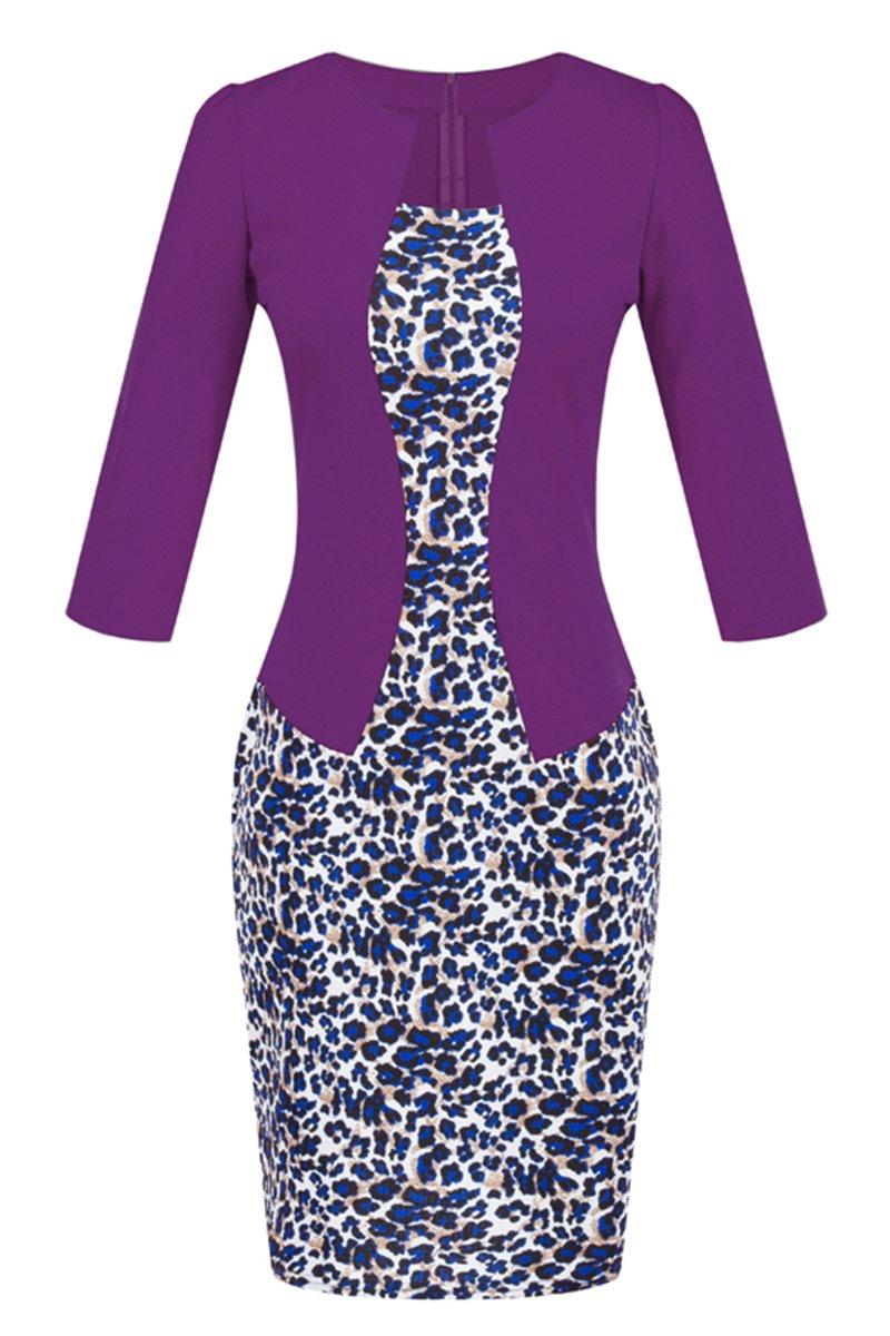 YMING Womens Retrol Knee Length Work Dress Party Sheath Purple Dress L