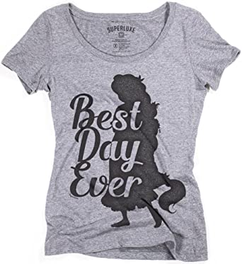 ac3e2f9f Amazon.com: Superluxe Clothing Womens Best Day Ever Rapunzel Tri-Blend  Scoop Neck T-Shirt: Clothing