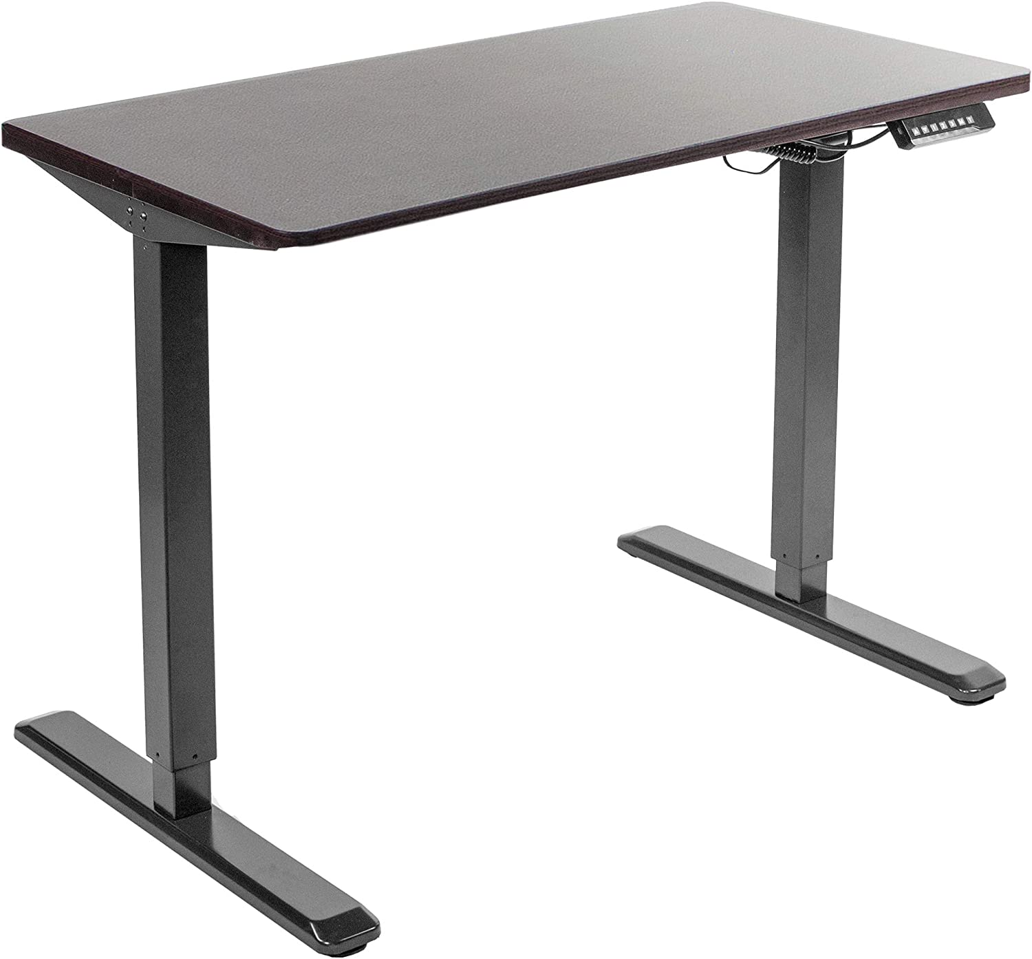 """VIVO Electric 43"""" x 24"""" Stand Up Desk, Espresso Solid One-Piece Table Top, Black Frame, Height Adjustable Standing Workstation with Memory Preset Controller (DESK-KIT-1B4E)"""