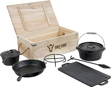 Holztruhe Pfanne Deckel-Heber Camping BBQ Feuer Dutch Oven Set aus Gusseisen