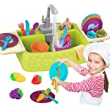 Play Kitchen Sink Toys Set with Running Water for Toddlers, Electric Toddler Kitchen Dishwasher Playing Toy, Pretend Role Toy