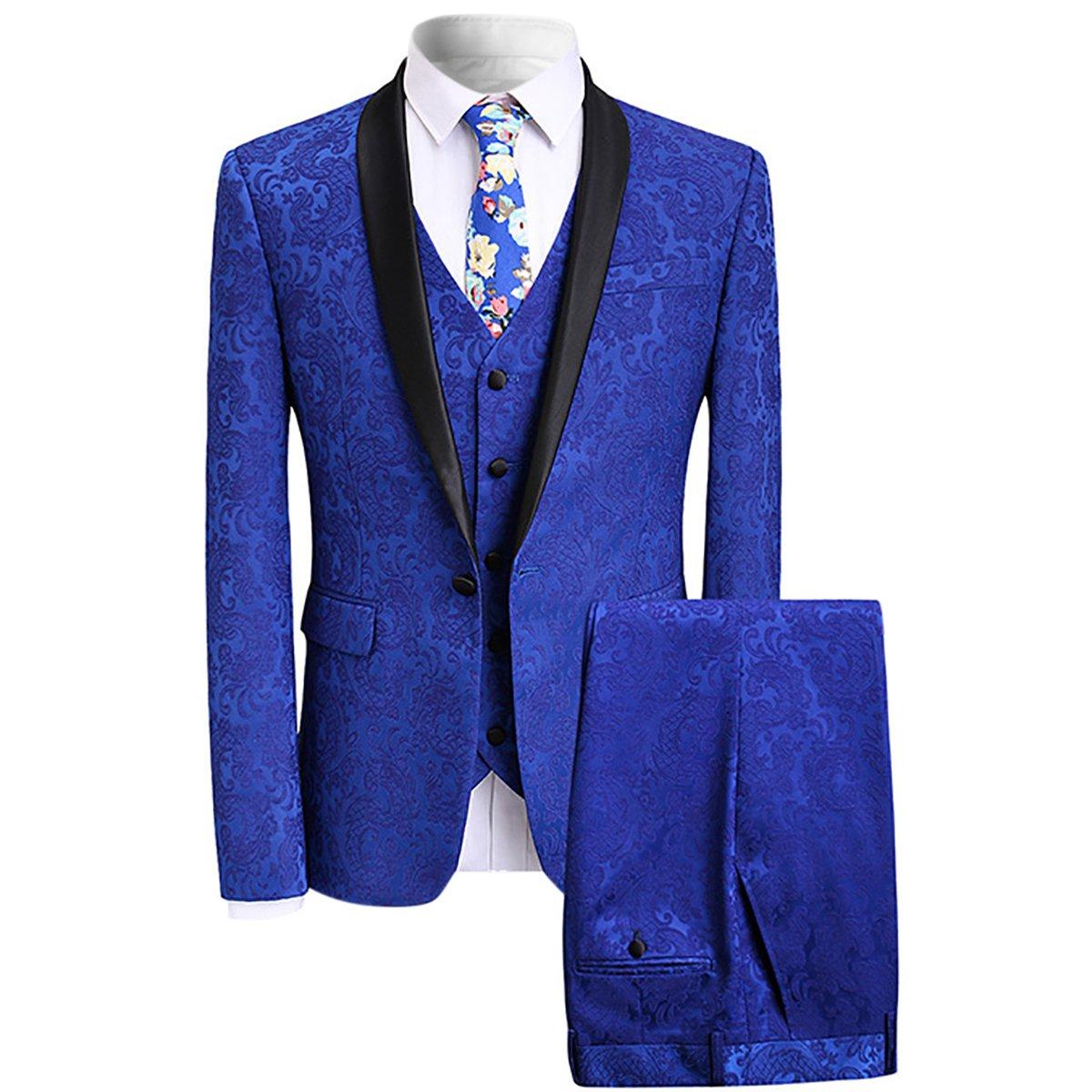 YFFUSHI Men's Elegant Jacquard 3 Piece Suit Slim Fit Royal Blue Tuxedo XF6047