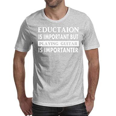 d8c903c29f Hyduns Mens Cotton Funny Guitar Education is Important Graphic T Shirts Tee