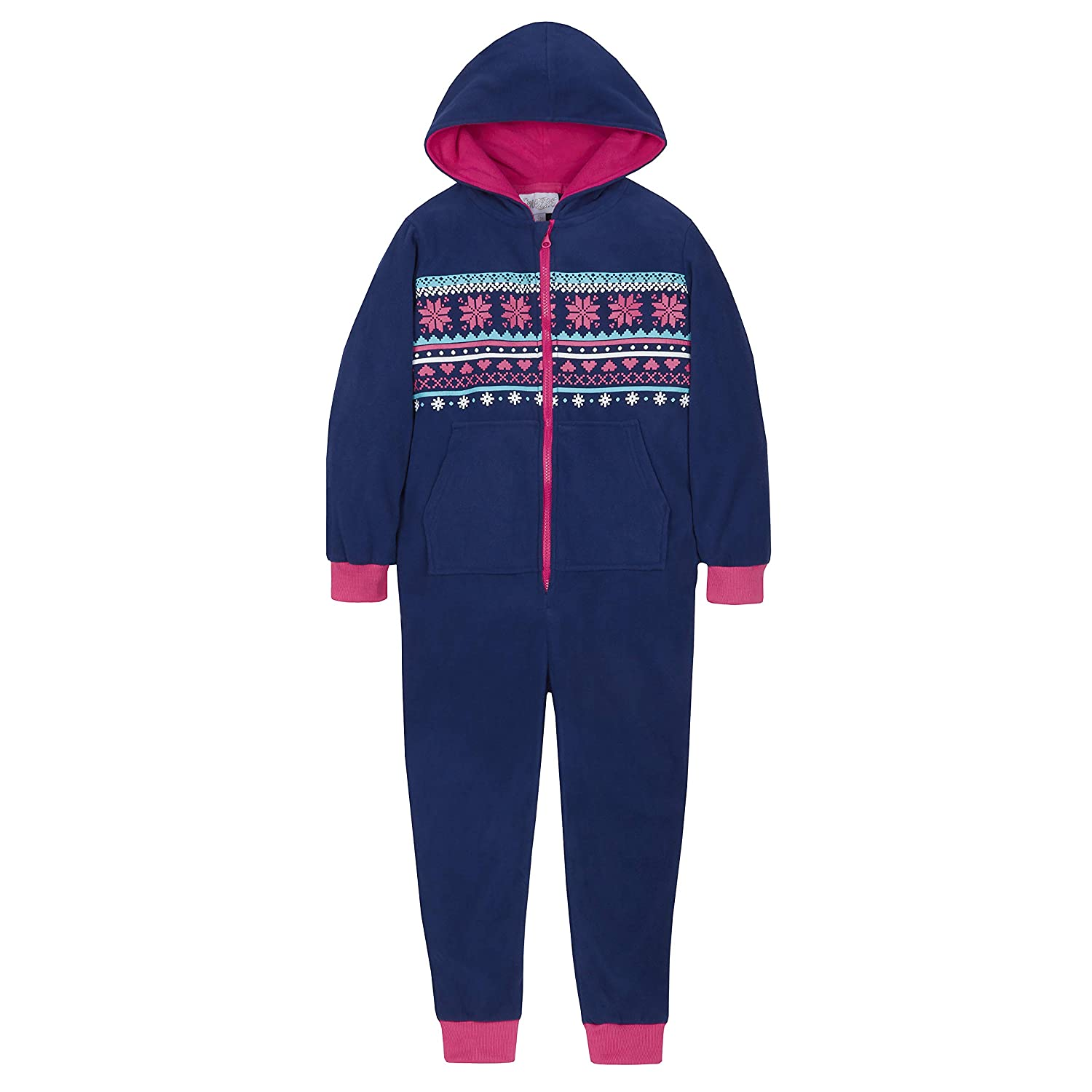 Onezee Girls Fair Isle Pattern All In One Fleece Hooded Jumpsuit with Pockets