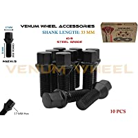 Venum wheel accessories 10 Pcs Extended Black Powder Coated Lug Bolts 12x1.5 (33 mm Shank) Cone Seat - Works with BMW E36 E46 E60 E90 E92 E93 + More