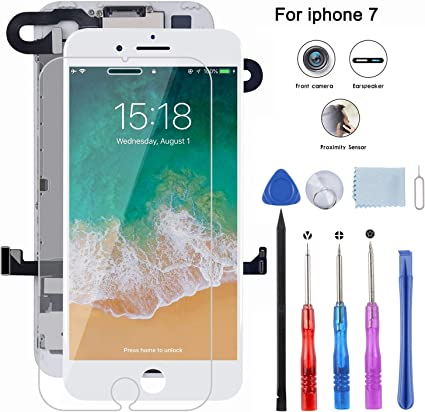 Front Camera and Repair Tools Screen Replacement for iPhone 7 Pre-Assembled LCD Display and 3D Touch Screen Digitizer Replacement with Proximity Sensor Ear Speaker White