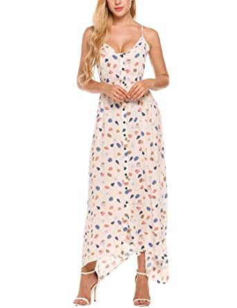 9e4612387e1b Image Unavailable. Image not available for. Color: Beyove Women's Button up  Split Floral Print Long Maxi Boho Bohemian Dress ...