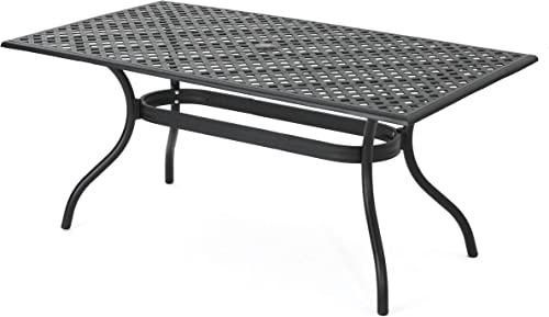 Christopher Knight Home Cayman Cast Aluminum Rectangle Table, Black Sand
