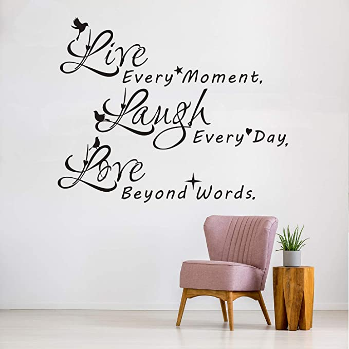 Vodoe Wall Decals For Bedroom Life Quotes Wall Decals Inspirational Living Room Family Art Home Decor Vinyl Motivational Stickers Live Every Moment Laugh Every Day Love Beyond Words 19 8 X 16