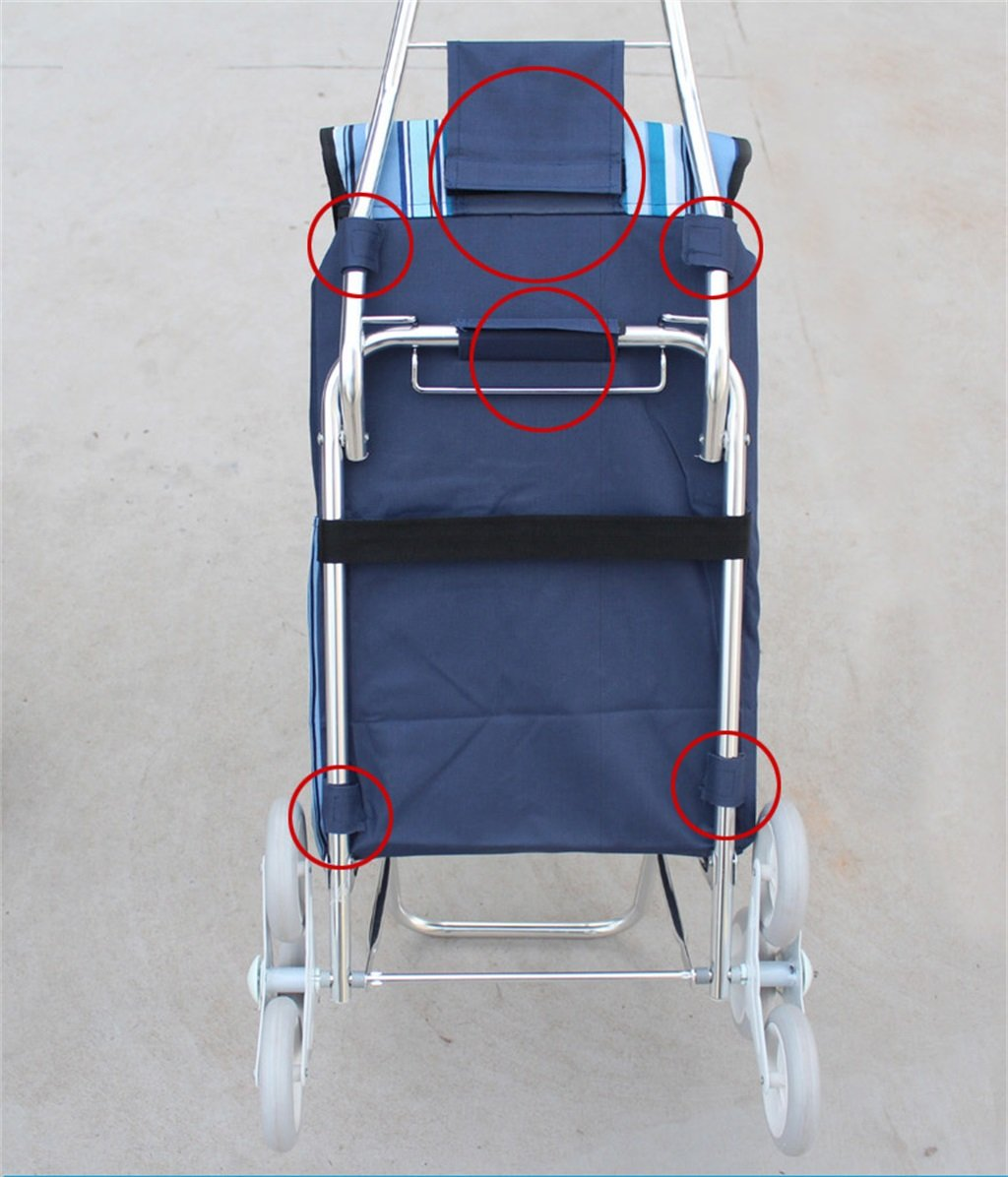 Handcart Folding Shopping Cart Hand Truck Six Rounds Climbing Stairs Trolley Grocery Shopping Trailer Elderly Bag Car Portable Cart Seven Colors Optional 35 Kg Load (Color : A) by Hw Ⓡ Handcart (Image #3)
