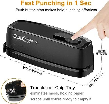 Eagle Heavy Duty Three-Hole Punch,/30 Sheets Capacity,/Force Saving 50/%