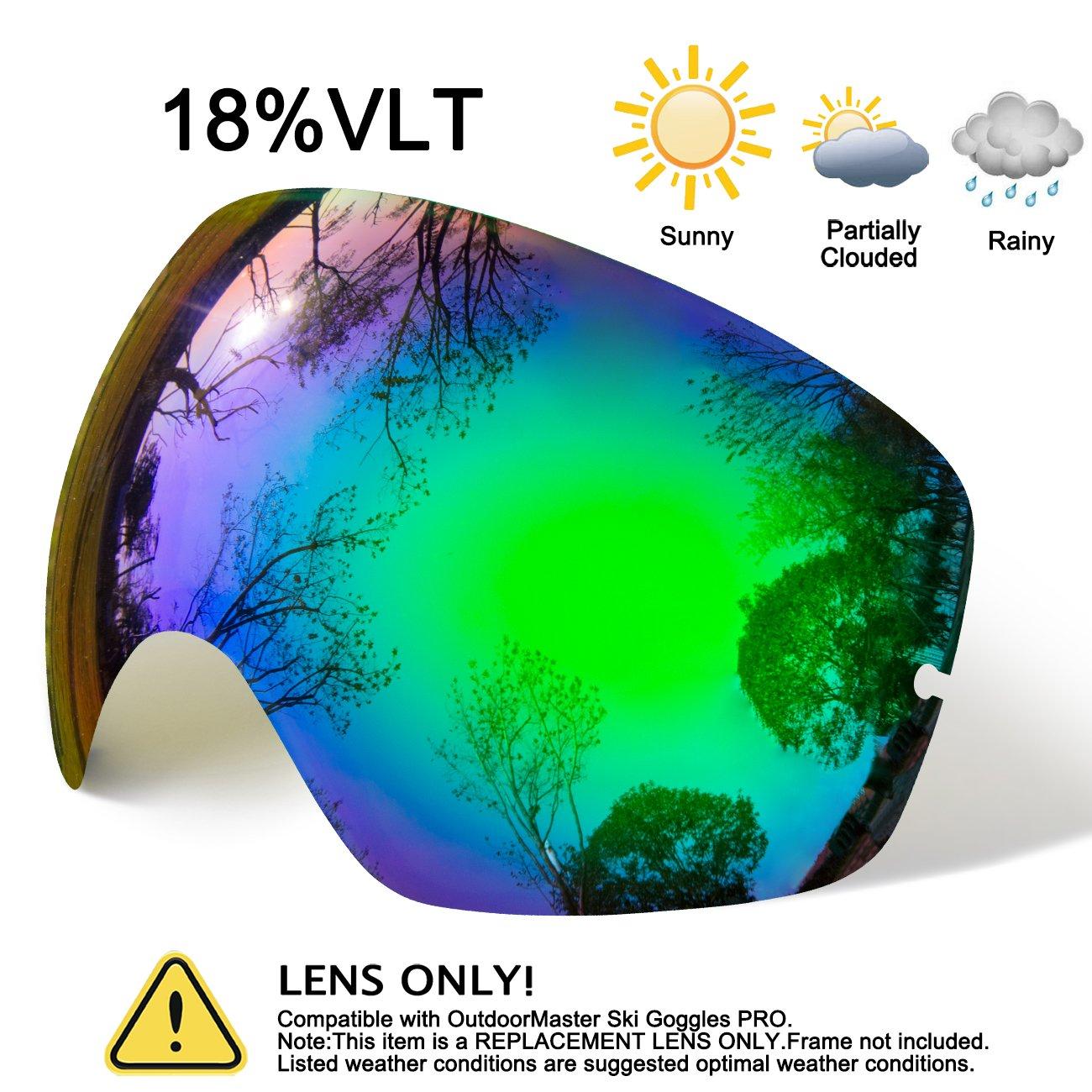 hongdak Ski Goggles Lens, Snowboard Goggles UV Protection, Snow Goggles Helmet Compatible men women boys girls kids, Anti fog OTG Green Lens by hongdak