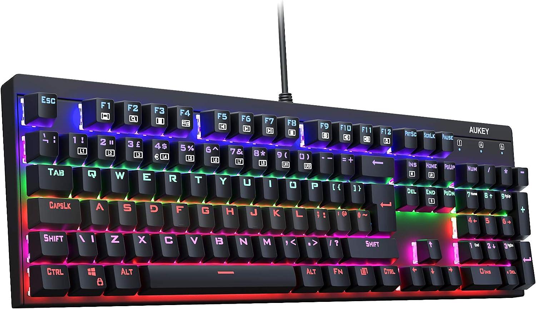 AUKEY Teclado Mecánico LED-Backlit Teclado Gaming con Switches Blue, 104 Teclas (ANSI US Layout) con Metal Panel 100% Anti-ghosting para Jugadores y Mecanógrafos, Negro