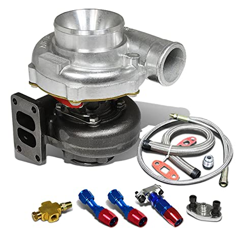T70 T3 twinscroll colector Brida 4 Pernos Turbocompresor + aceite alimentación + línea de drenaje turbina