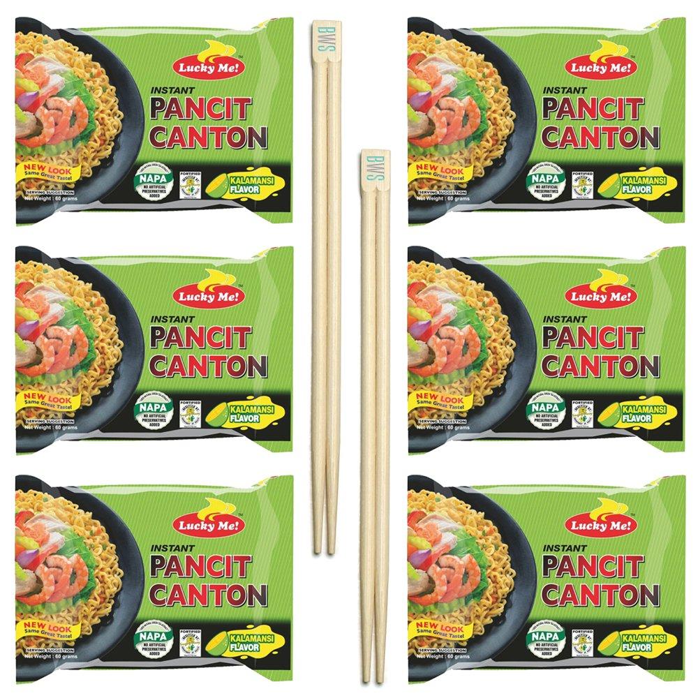 BWS Bamboo Chopsticks (2 Pairs) + Lucky Me! Pancit Canton (6-Pack) Filipino Chow Mein Soupless Ramen Noodles (Kalamansi - Citrus)