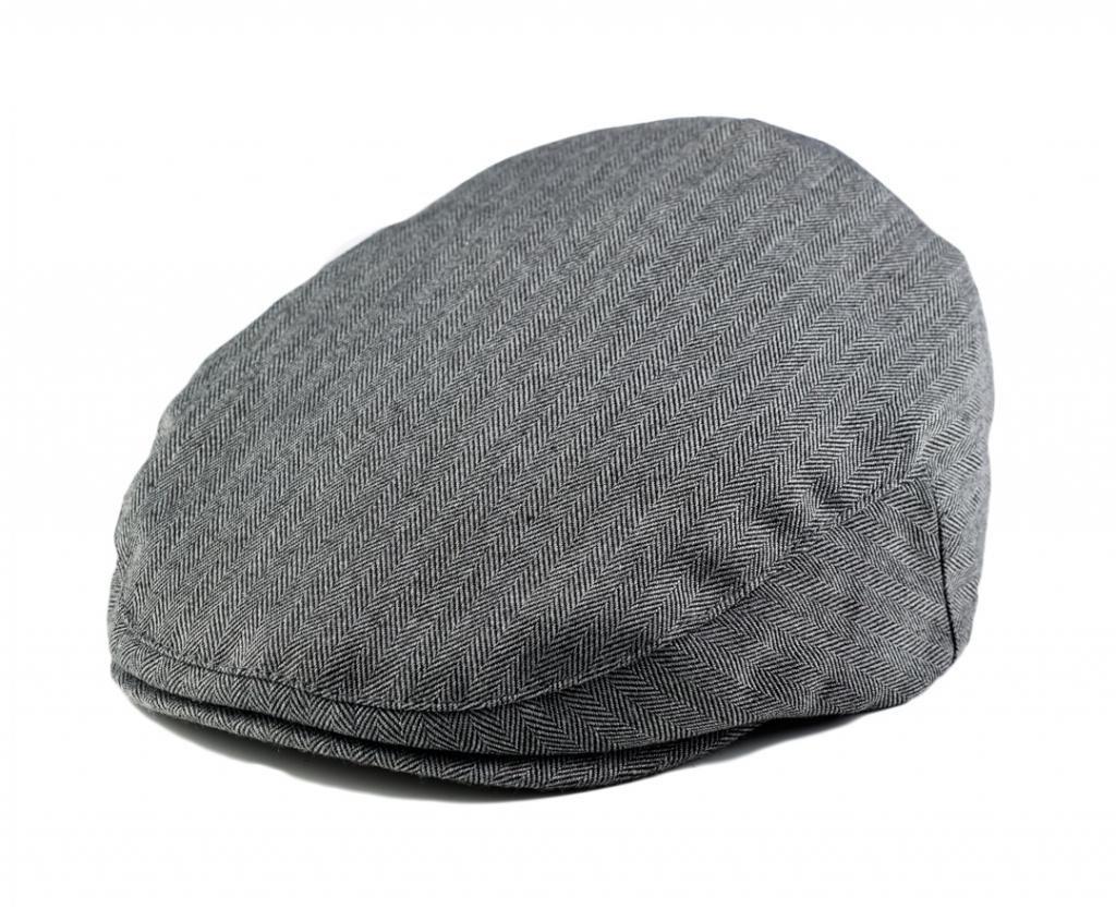 Born To Love Grey Herringbone Driver Page Boy Cap-XL
