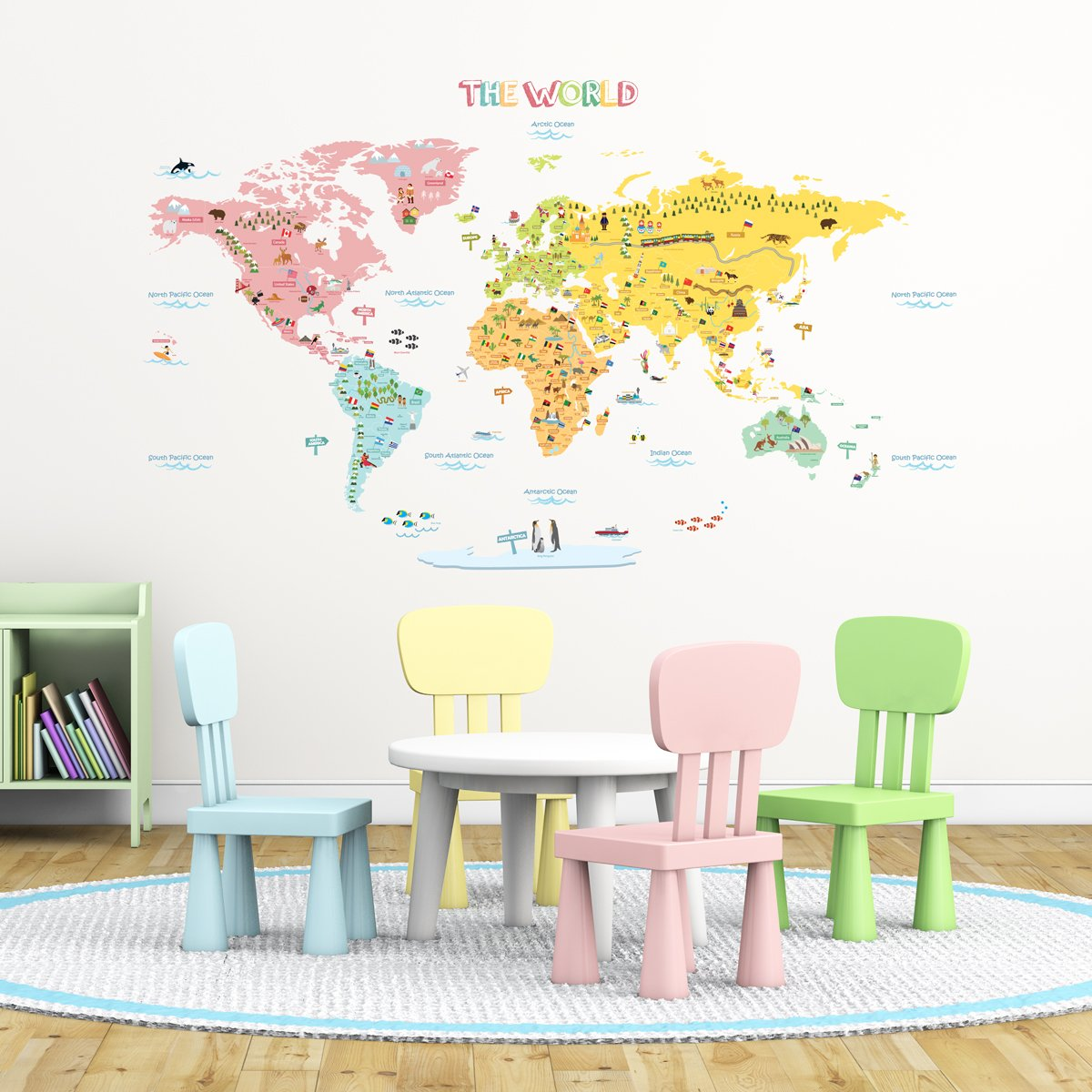 Amazoncom Decowall DLTN Colourful World Map Kids Wall - Wall decals and stickers