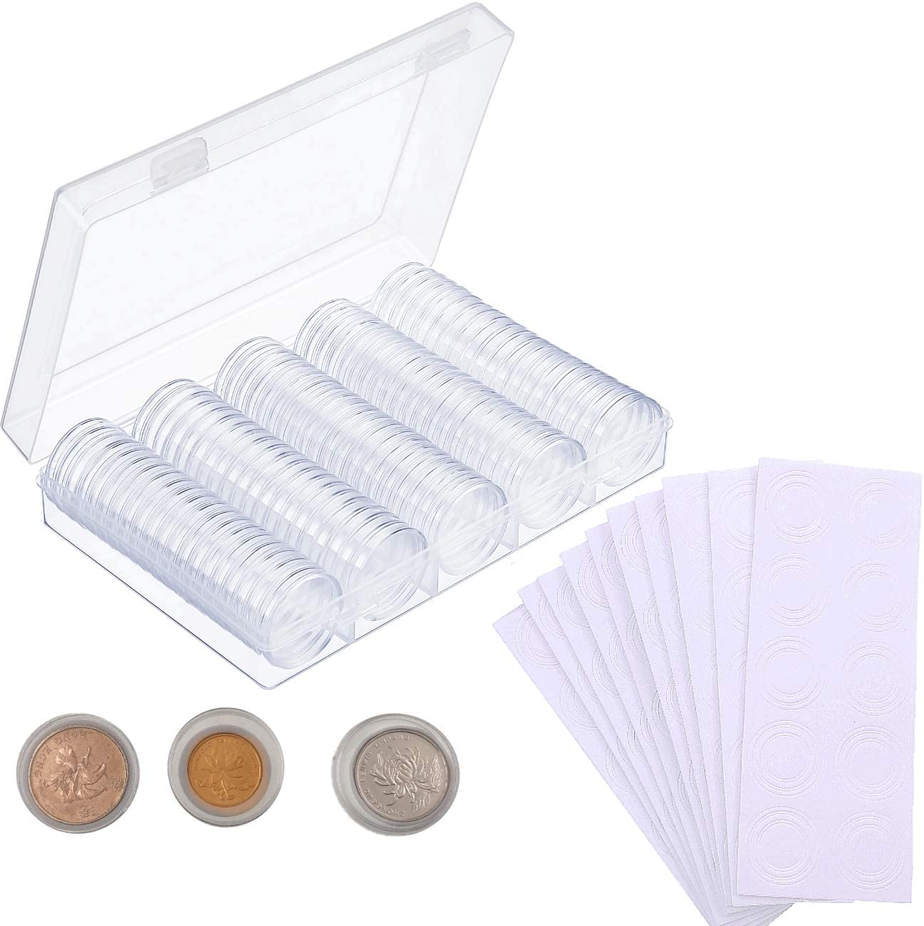 JZK 100 x Cápsulas de Monedas de plástico 30mm con Caja organizadora de Almacenamiento y 100 Juntas de Espuma Protectora (17/20/25/27/30mm) para Suministros de Recogida de Monedas