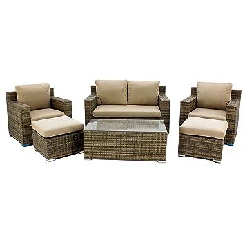 Hevea Set de sofá 2 plazas con 2 sillones, 2 taburetes y ...