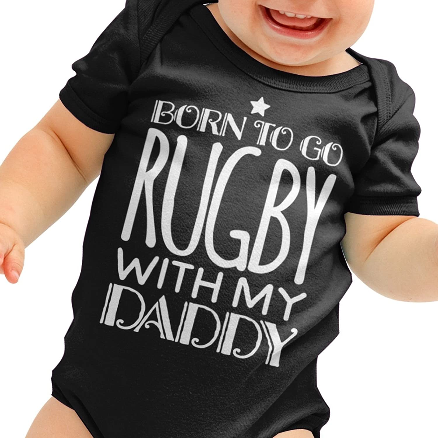 Toddler Clothing 0-3 Months Cute Baby Shower Gift Funny Outfit 6-12 FunkyShirt Funny Baby Grow Born To Go The Rugby With My Daddy Fathers Day 12-18 All Colours 3-6