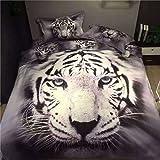 Etelux 3d Cute Animal Juego de cama, edredón conjunto, juego de sábanas, funda de almohada, Animail Desgin, White Tiger, Twin Size