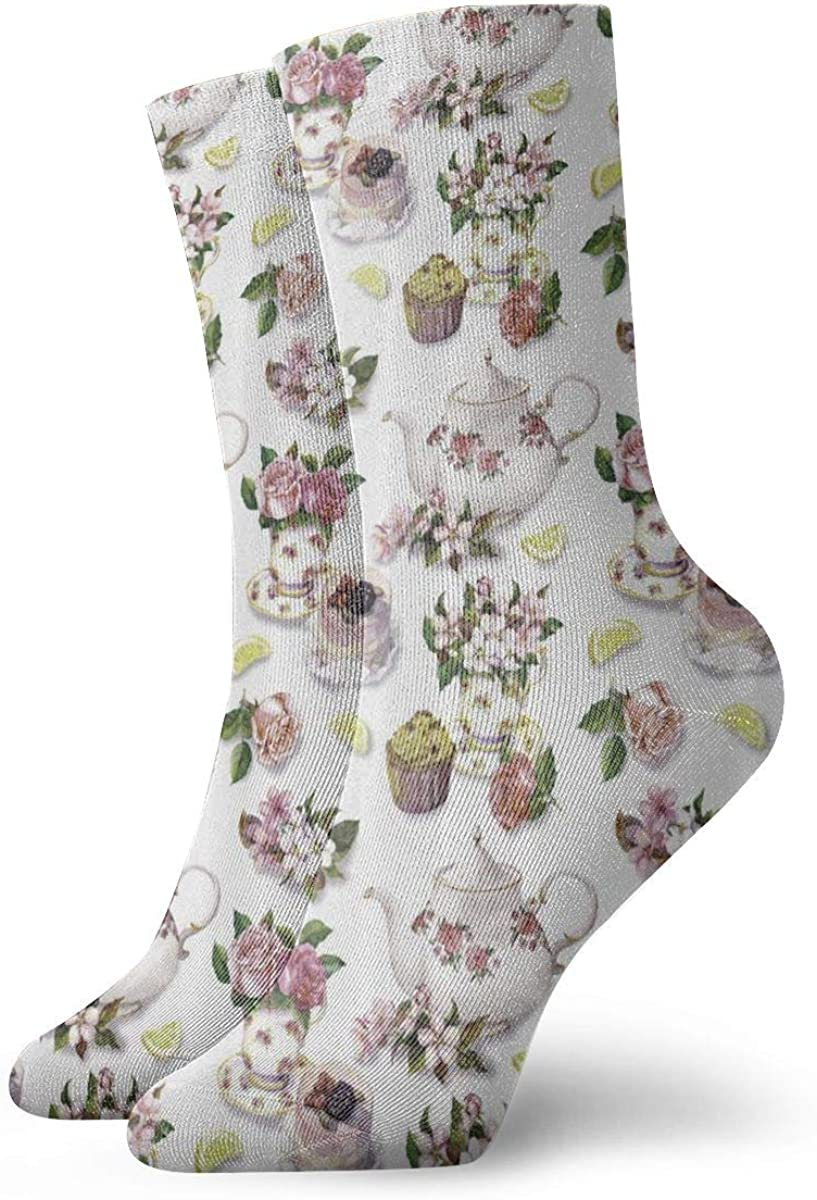 Roses Shabby Chic Decor Vintage Teapots 30cm Long Socks Athletic Cotton Leisure Stockings