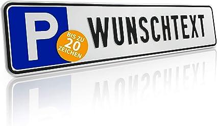 Betriebsausstattung24 Individuelles Parkplatzschild Mit Wunschprägung Wunschtext Mit P Symbol Bxh 52 0 X 11 0 Cm Autoschild Aluminium Geprägt Mit Ohne Löcher Auto