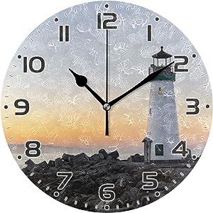JUMBEAR Lighthouse Wall Clock Non Ticking Silent Art Clock for Living Room Bedroom Office School Home Decor