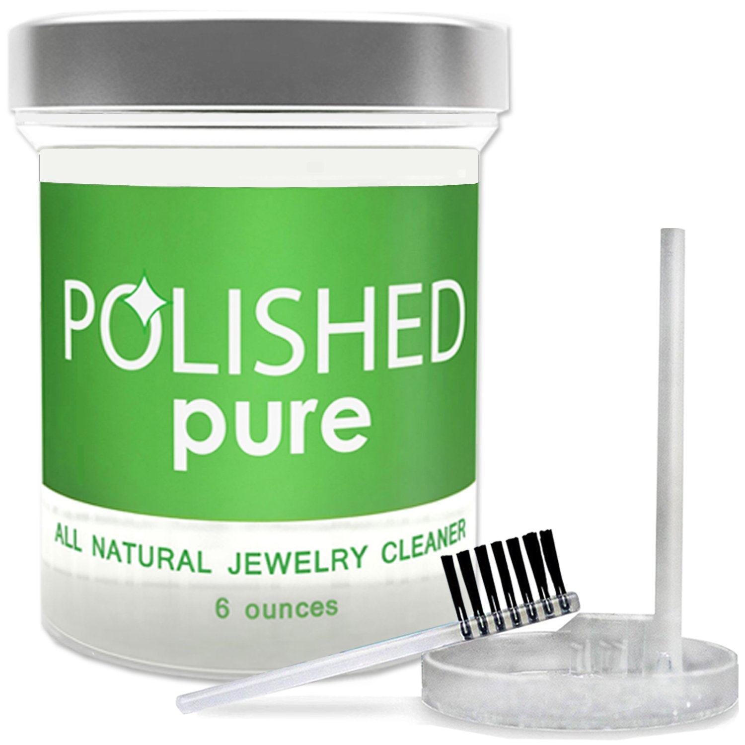 Polished All-Natural Jewelry Cleaner, Professional Clean in 2-Minutes! No Ammonia Jewelry Cleaning Solution, Brush + Tray | Made in USA, Safe on Skin + Diamond Ring, Sapphire + Gold Jewelry Cleaners